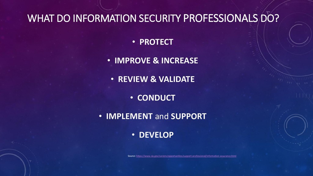 WHAT DO INFORMATION SECURITY PROFESSIONALS DO? ...