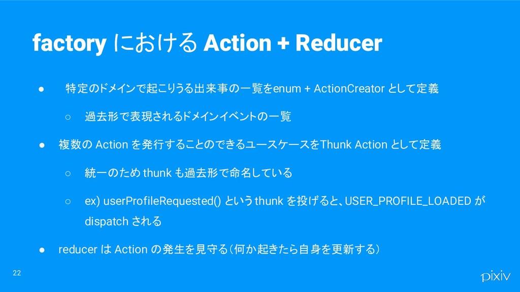 ● 特定のドメインで起こりうる出来事の一覧を enum + ActionCreator として...