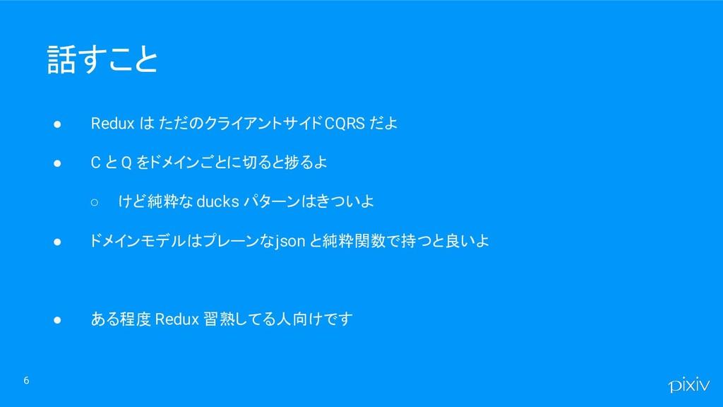 ● Redux は ただのクライアントサイド CQRS だよ ● C と Q をドメインごとに...