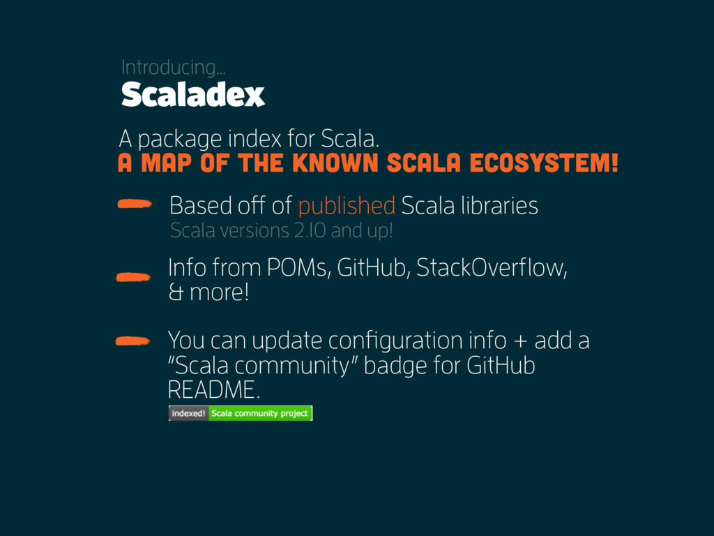 Scaladex A package index for Scala. Info from P...