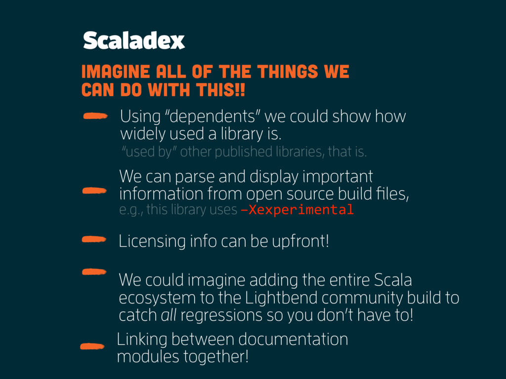 Scaladex We can parse and display important inf...