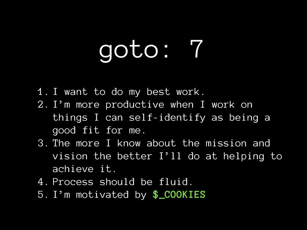 goto: 7 1. I want to do my best work. 2. I'm mo...