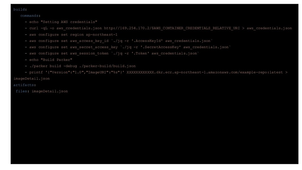 "build: commands: - echo ""Setting AWS credential..."