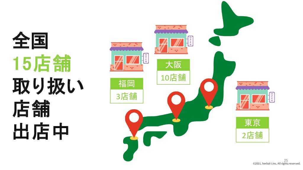 全国 15店舗 取り扱い 店舗 出店中 福岡 大阪 東京 3店舗 10店舗 2店舗 ©2021...