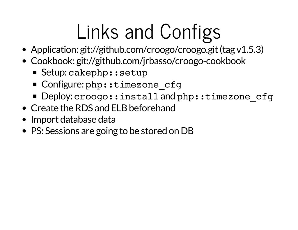 Links and Configs Application: git://github.com...