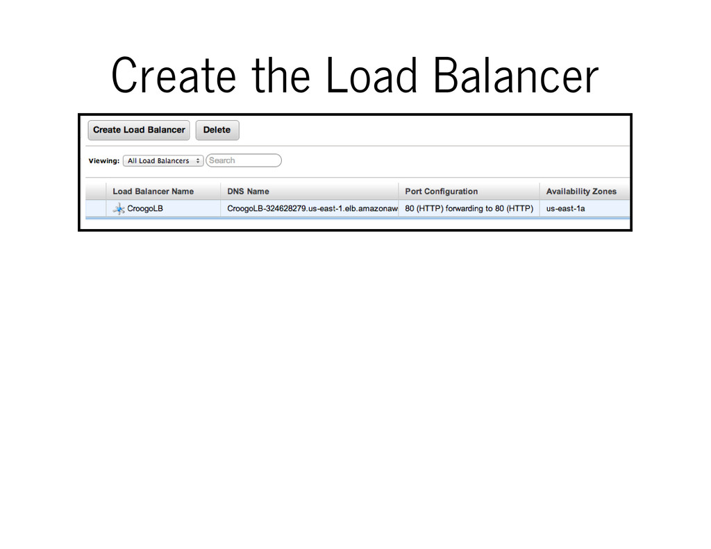 Create the Load Balancer