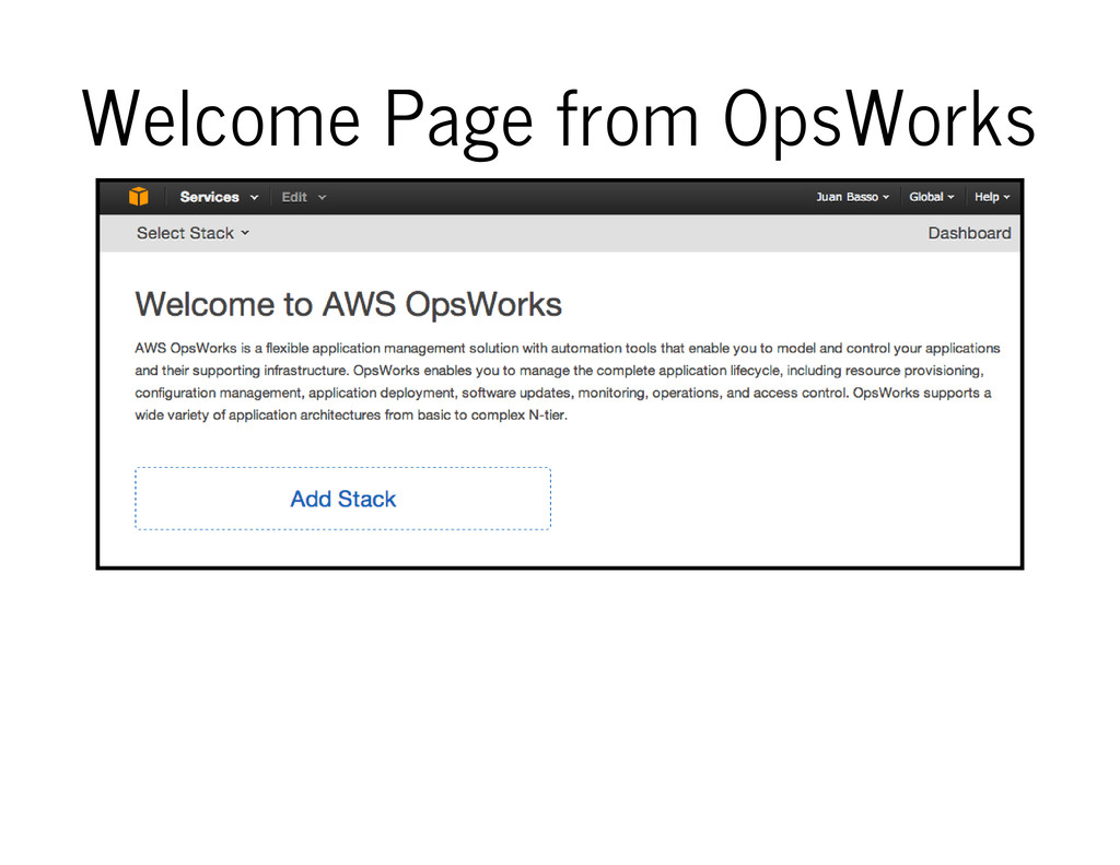 Welcome Page from OpsWorks