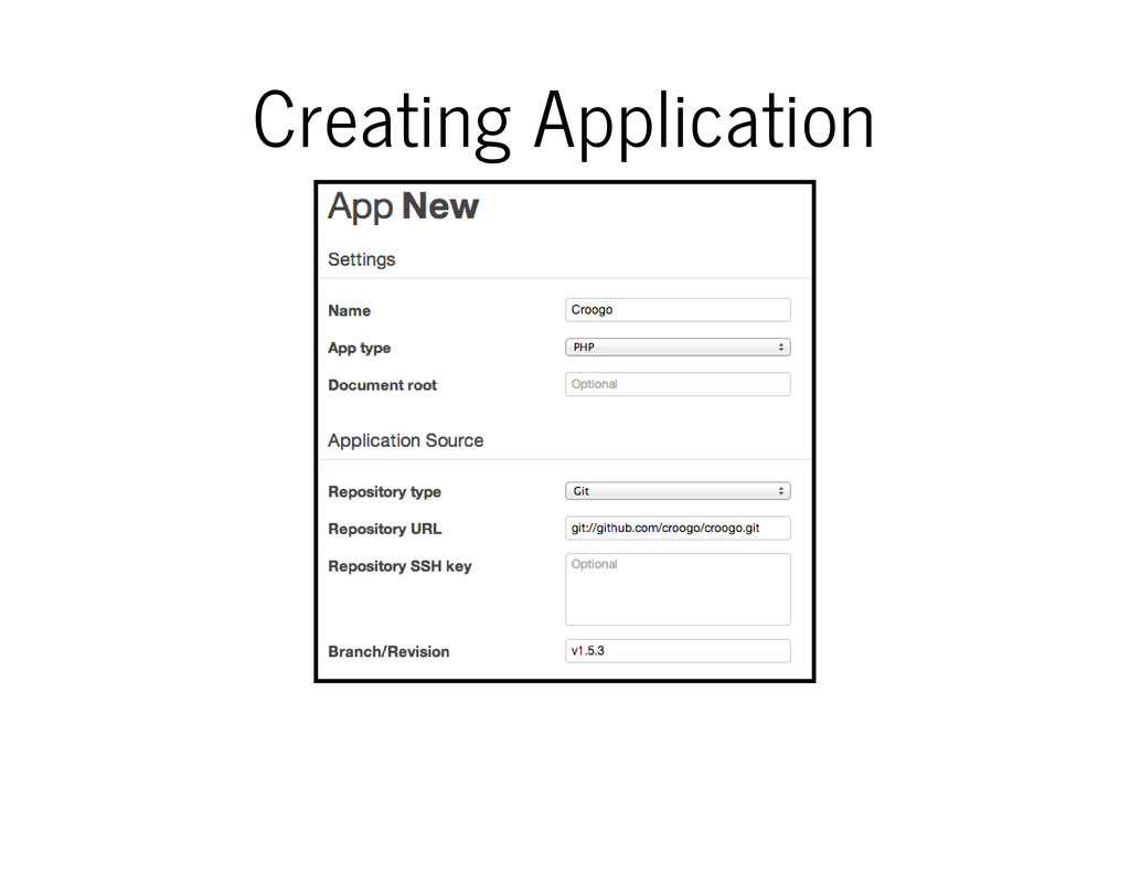 Creating Application