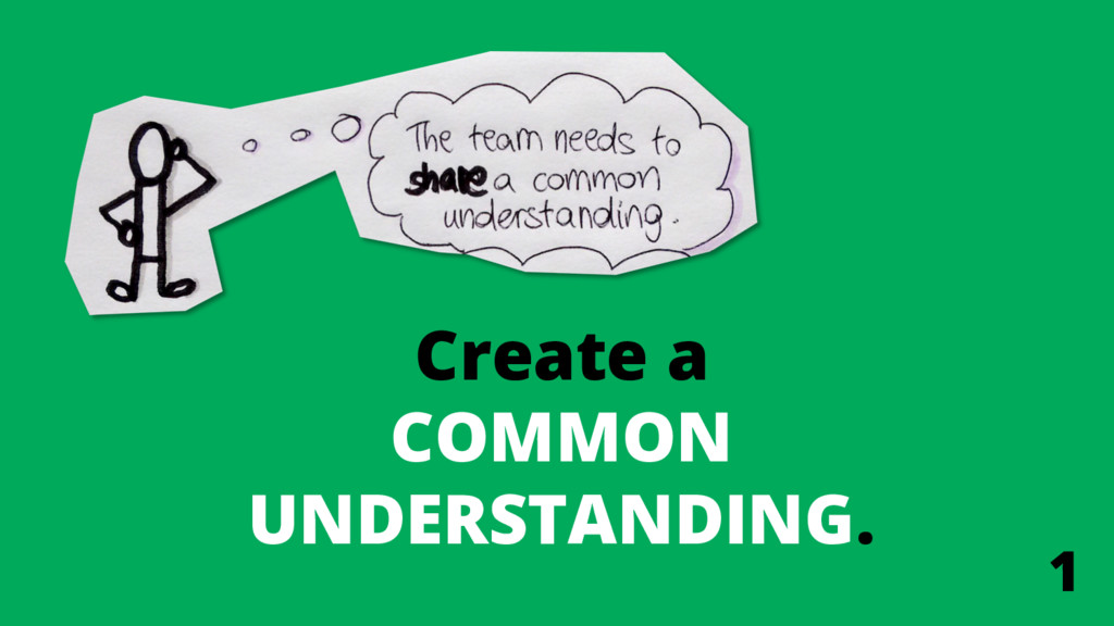 Create a COMMON UNDERSTANDING. 1