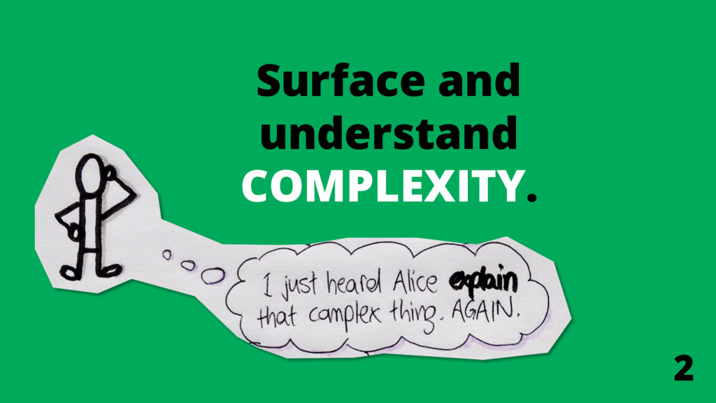 Surface and understand COMPLEXITY. 2