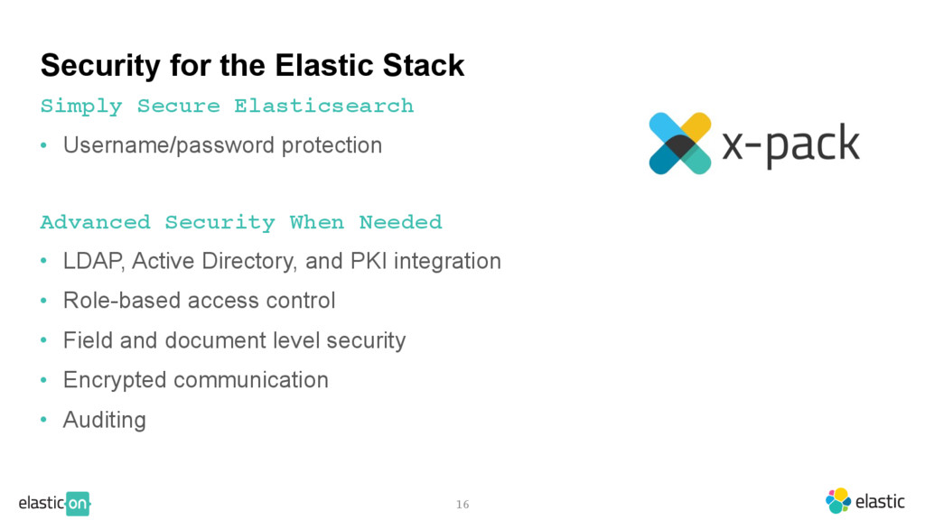 16 Security for the Elastic Stack • Username/pa...