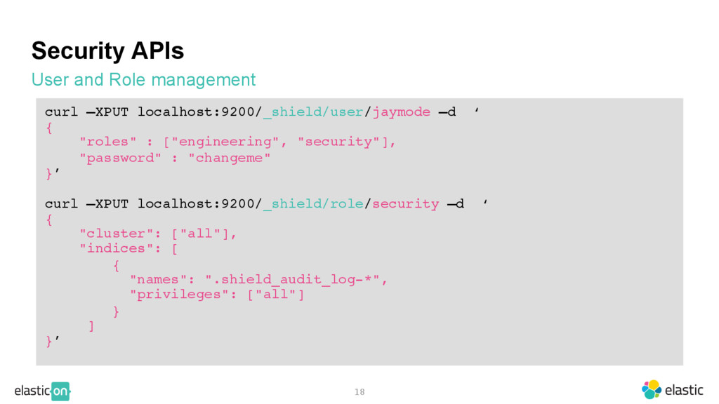 Security APIs User and Role management 18 curl ...