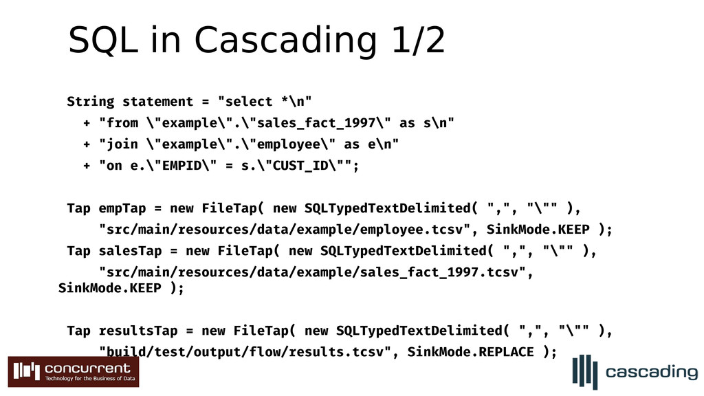 """SQL in Cascading 1/2 String statement = """"select..."""