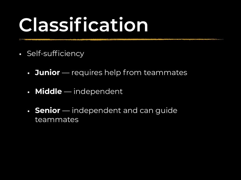 Classification • Self-sufficiency • Junior — requ...