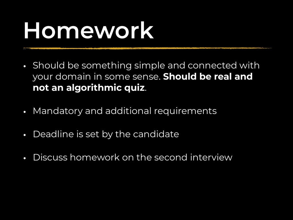 Homework • Should be something simple and conne...