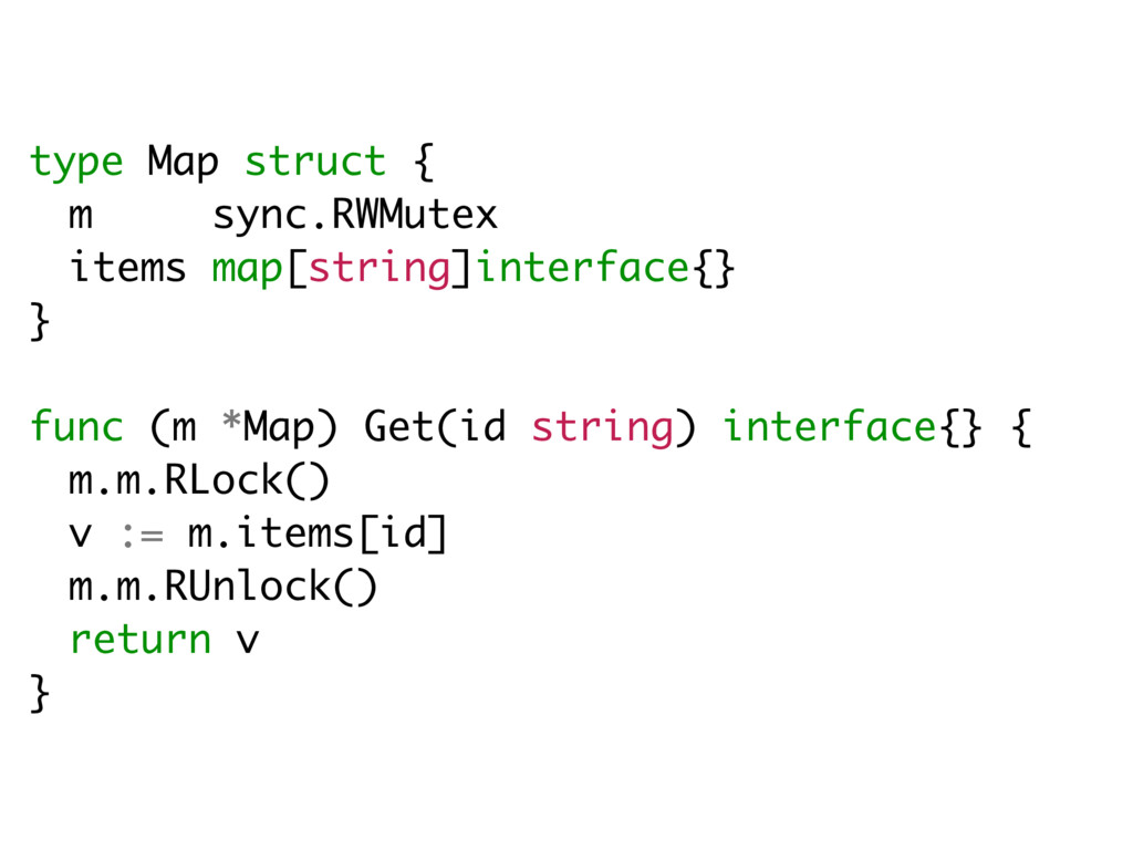 type Map struct { m sync.RWMutex items map[stri...