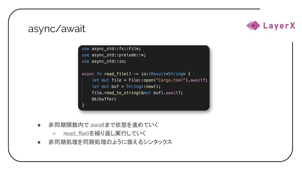 async/await ● 非同期関数内で まで状態を進めていく ○ を繰り返し実行していく ...