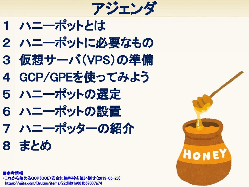 アジェンダ 1 ハニーポットとは 2 ハニーポットに必要なもの 3 仮想サーバ(VPS)...