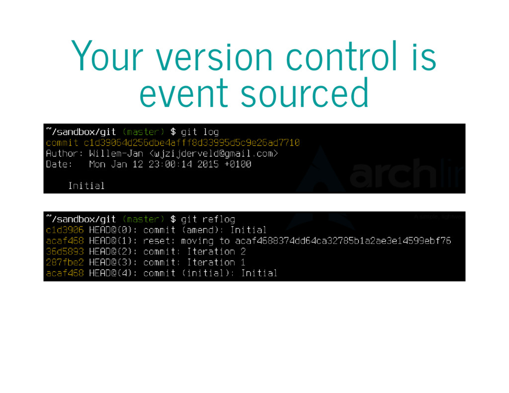 Your version control is event sourced