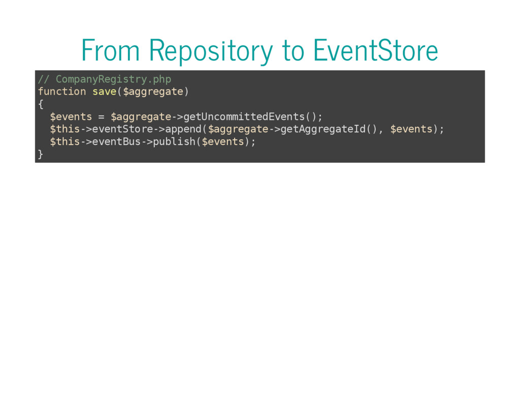 From Repository to EventStore / / C o m p a n y...
