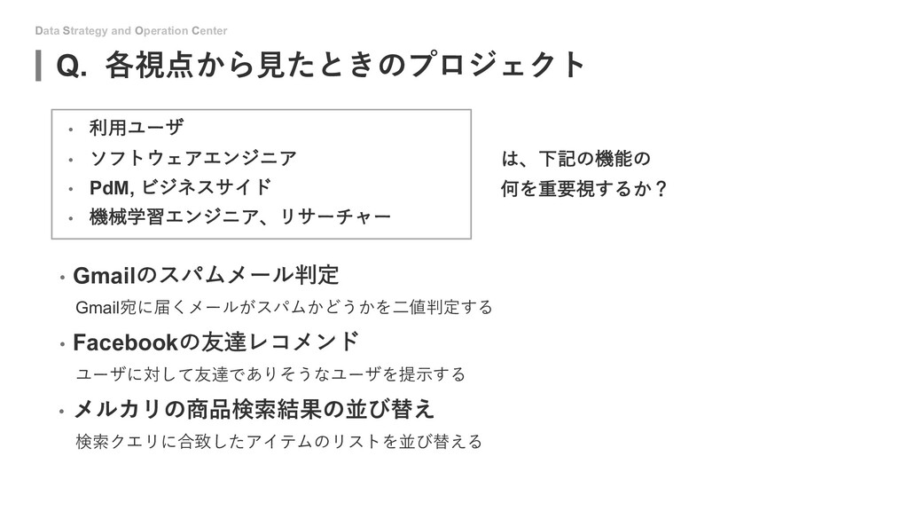 Data Strategy and Operation Center Q. 各視点から⾒たとき...