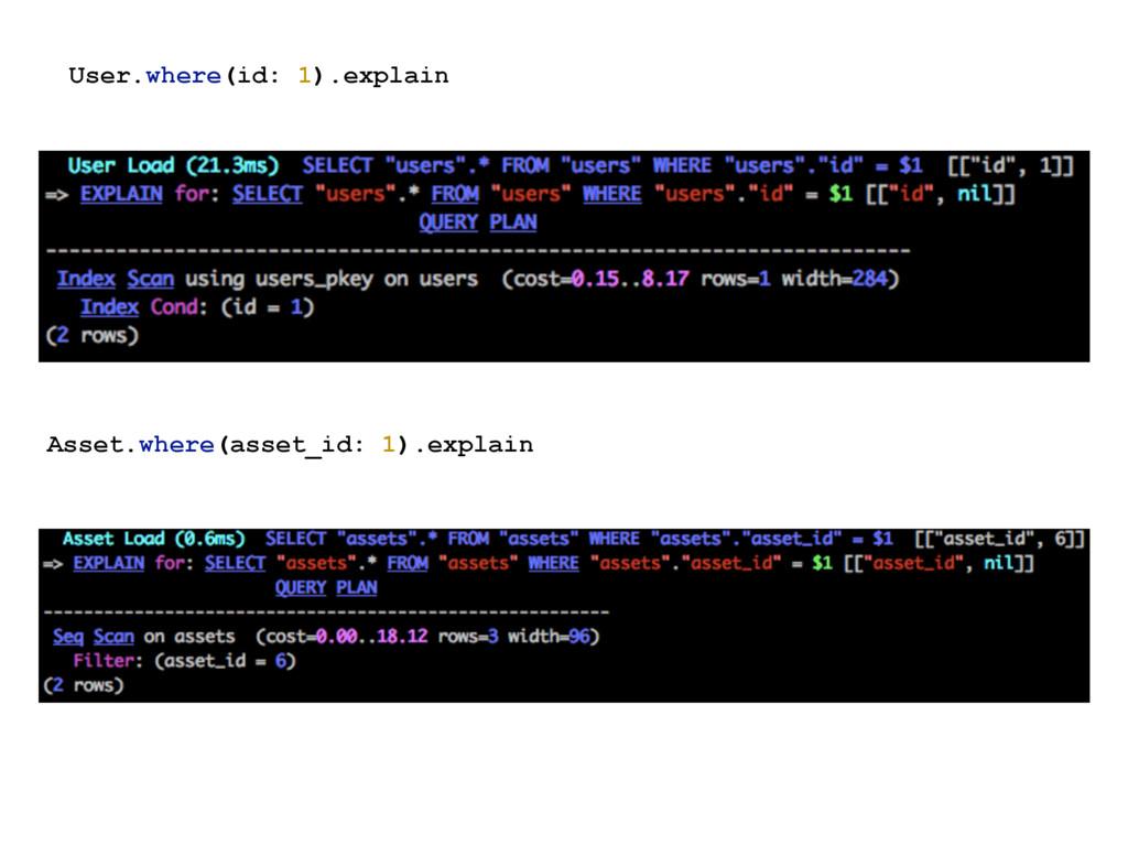 Asset.where(asset_id: 1).explain User.where(id:...