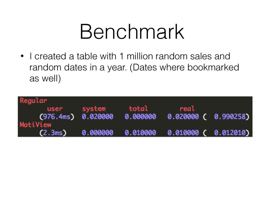 Benchmark • I created a table with 1 million ra...