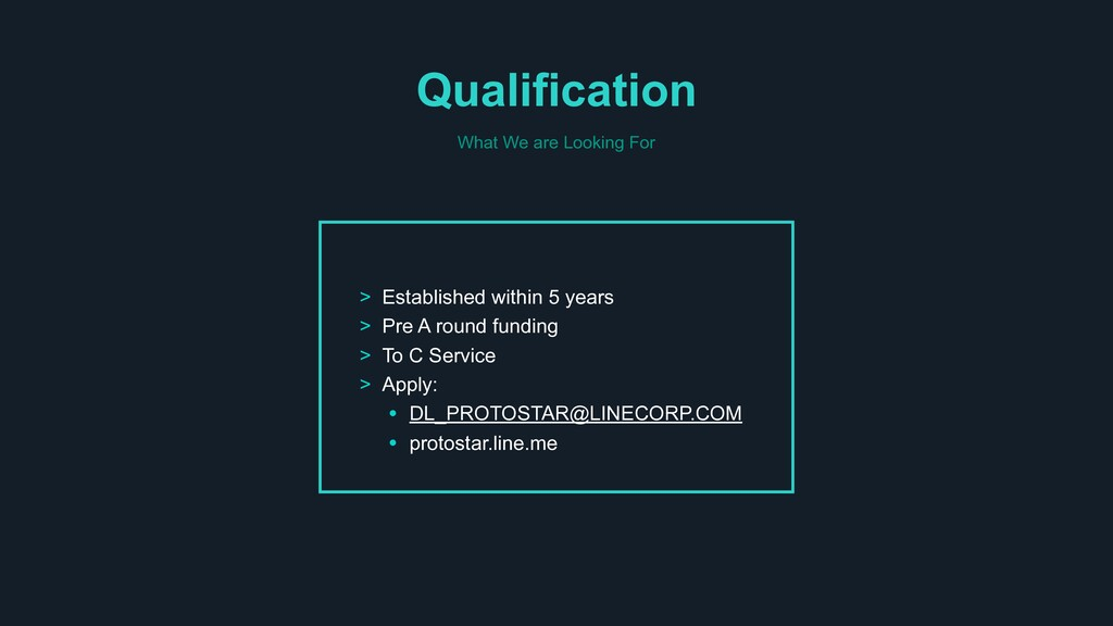 Qualification > Established within 5 years > Pr...
