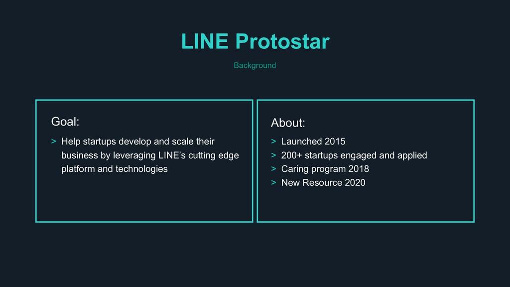 LINE Protostar Background Goal: > Help startups...