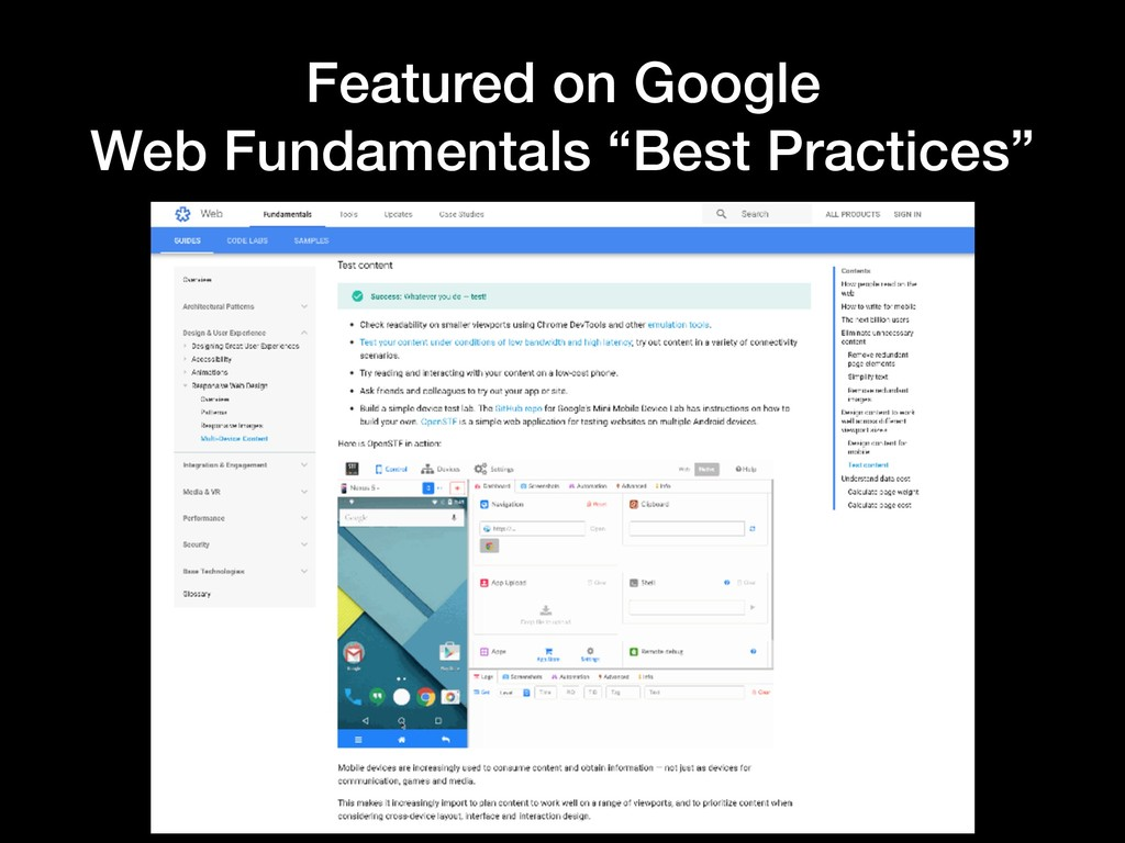 "Featured on Google Web Fundamentals ""Best Pract..."