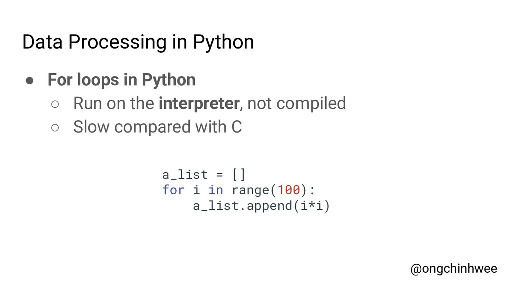 Data Processing in Python ● For loops in Python...