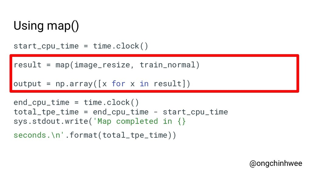 Using map() start_cpu_time = time.clock() resul...