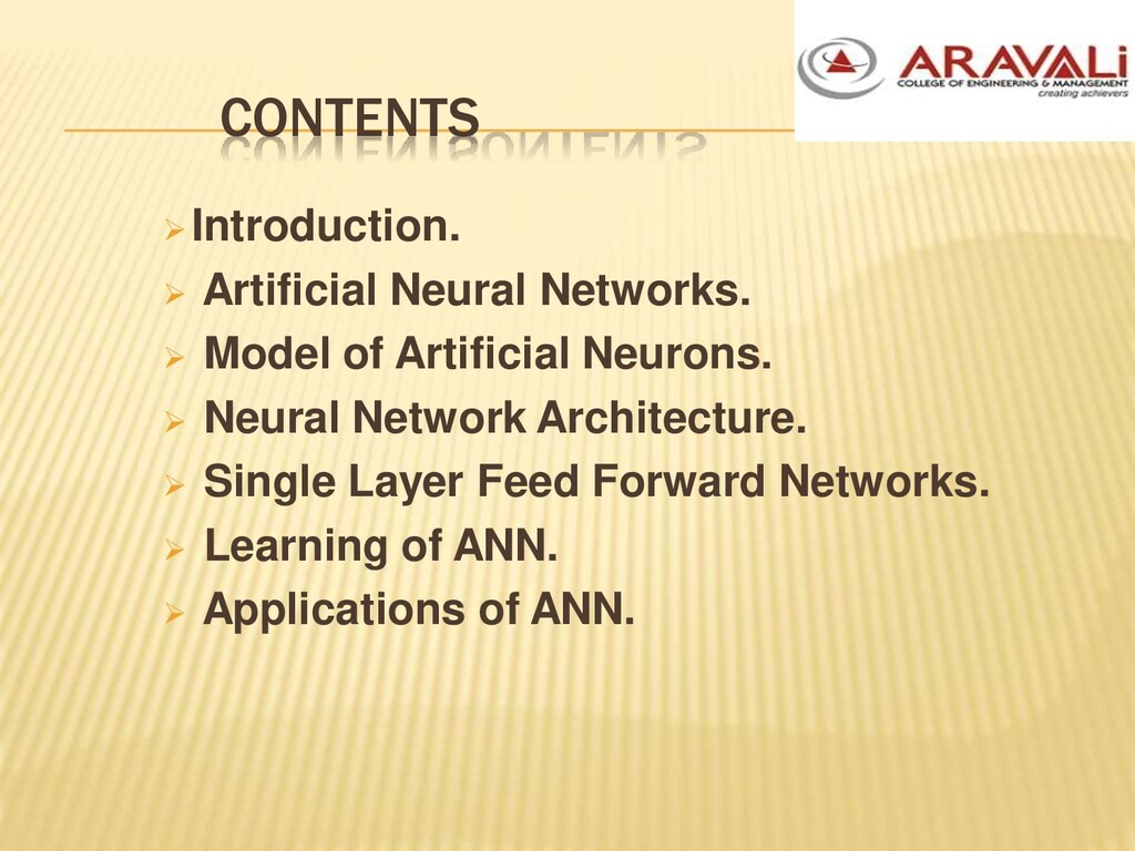 CONTENTS Introduction.  Artificial Neural Net...
