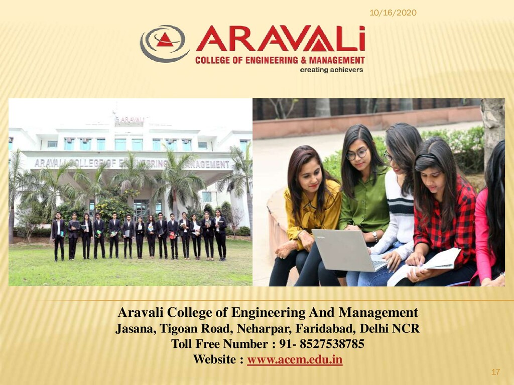 10/16/2020 17 Aravali College of Engineering An...