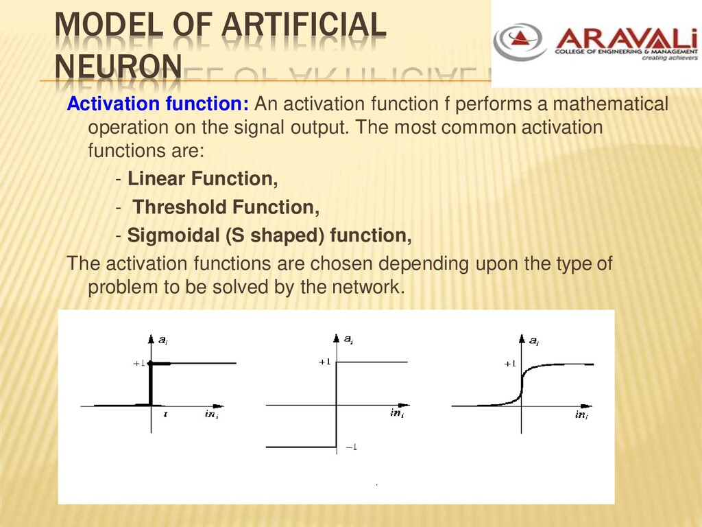 MODEL OF ARTIFICIAL NEURON Activation function:...