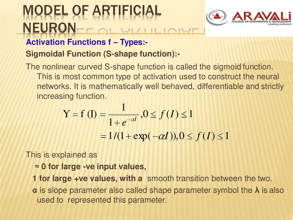 MODEL OF ARTIFICIAL NEURON Activation Functions...