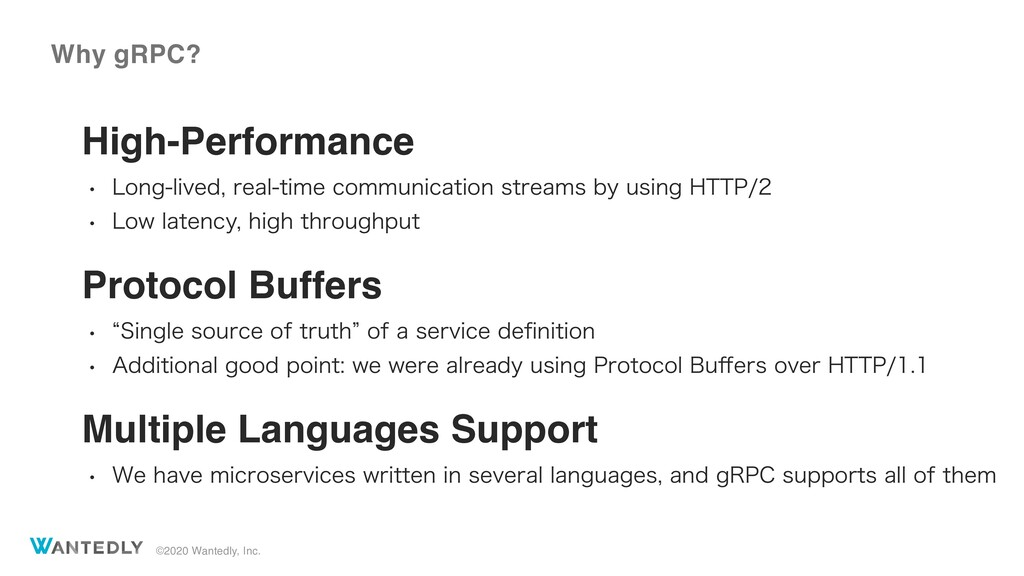 ©2020 Wantedly, Inc. Why gRPC? High-Performance...