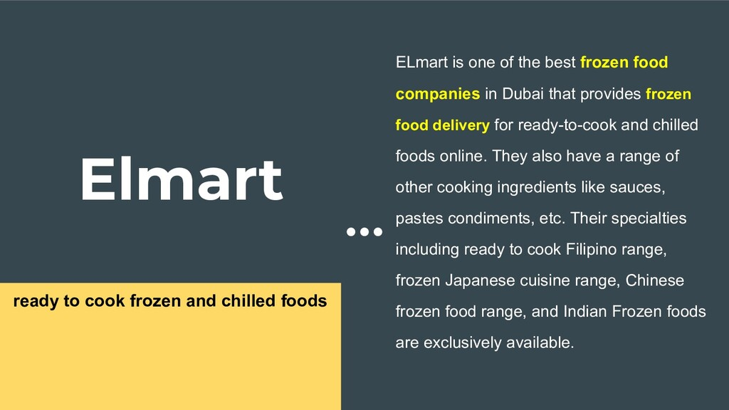 Elmart ready to cook frozen and chilled foods E...