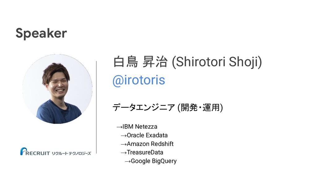 白鳥 昇治 (Shirotori Shoji) @irotoris データエンジニア (開発・...