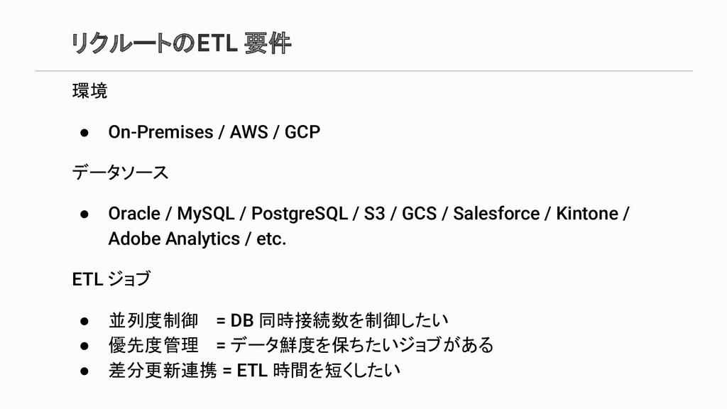 リクルートのETL 要件 環境 ● On-Premises / AWS / GCP データソー...