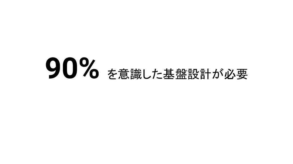 90% を意識した基盤設計が必要