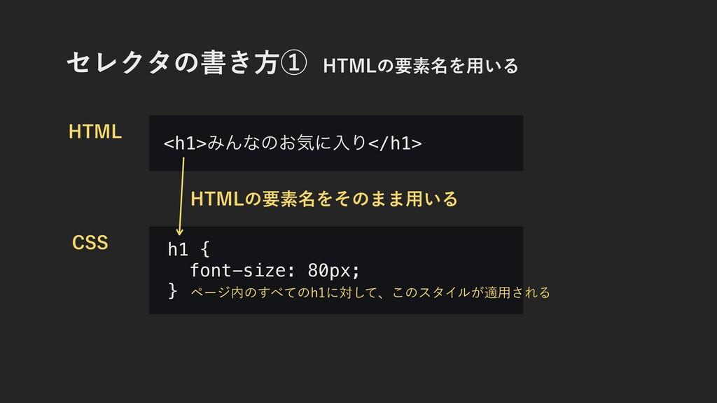 ηϨΫλͷॻ͖ํᶃ)5.-ͷཁૉ໊Λ༻͍Δ h1 { font-size: 80px; }...
