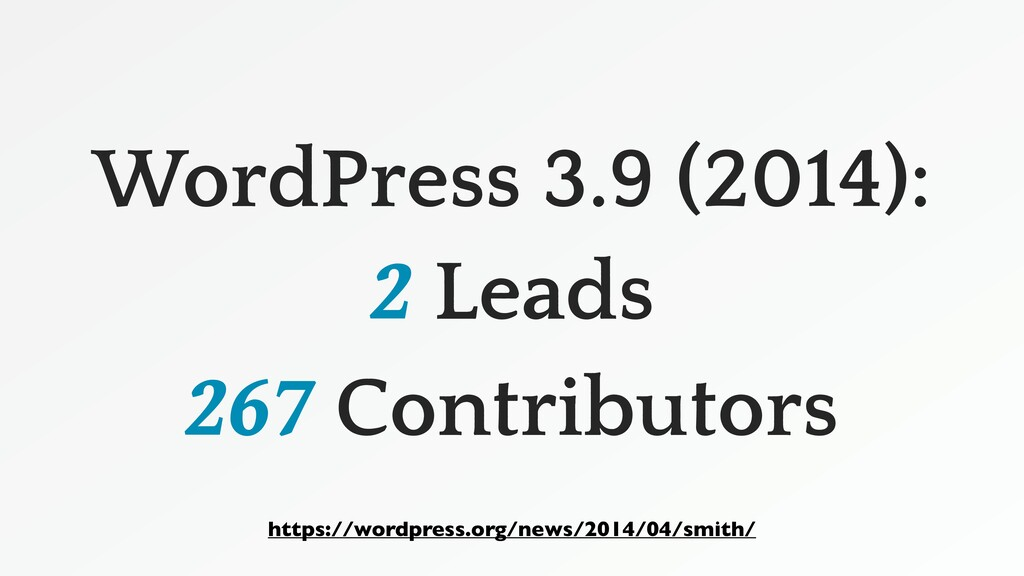 WordPress 3.9 (2014): 2 Leads 267 Contributors ...