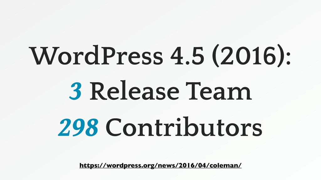 WordPress 4.5 (2016): 3 Release Team 298 Contri...