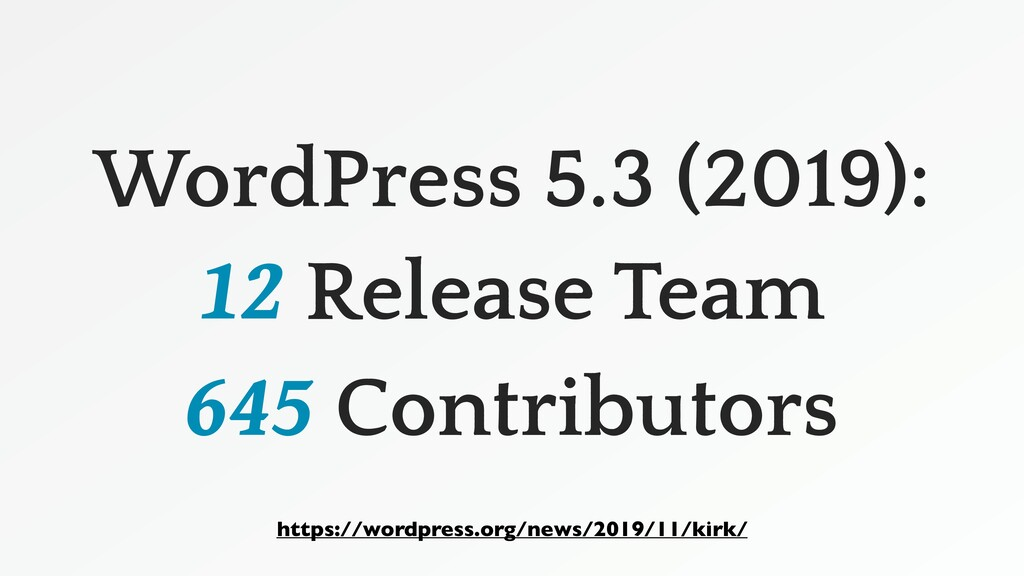 WordPress 5.3 (2019): 12 Release Team 645 Contr...