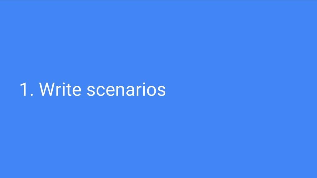 1. Write scenarios