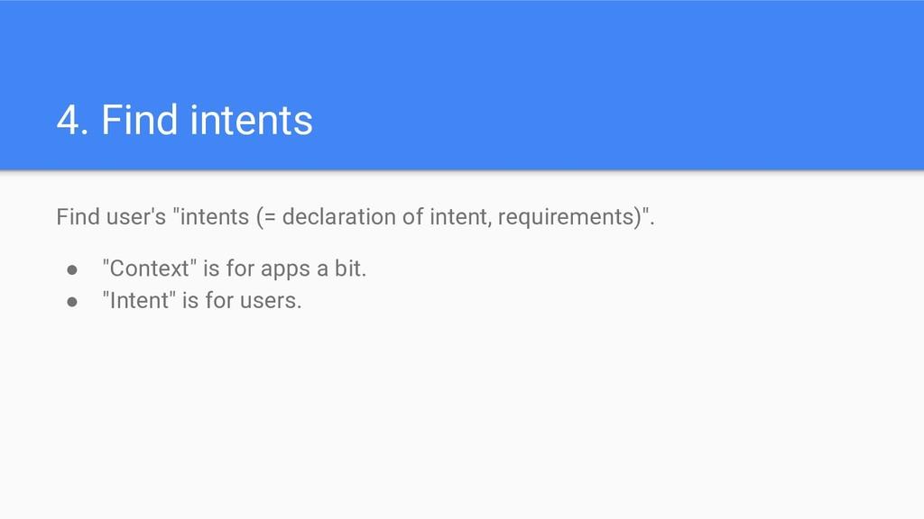 "4. Find intents Find user's ""intents (= declara..."