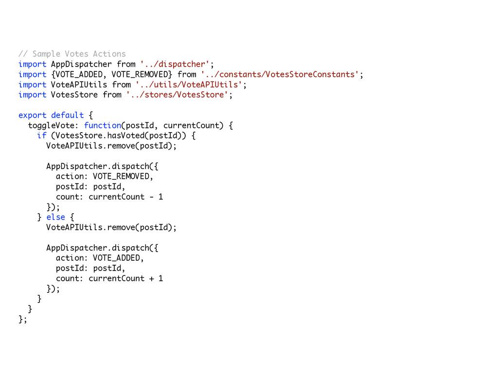 // Sample Votes Actions import AppDispatcher f...