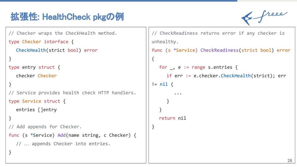28 拡張性: HealthCheck pkgの例 // Checker wraps the...