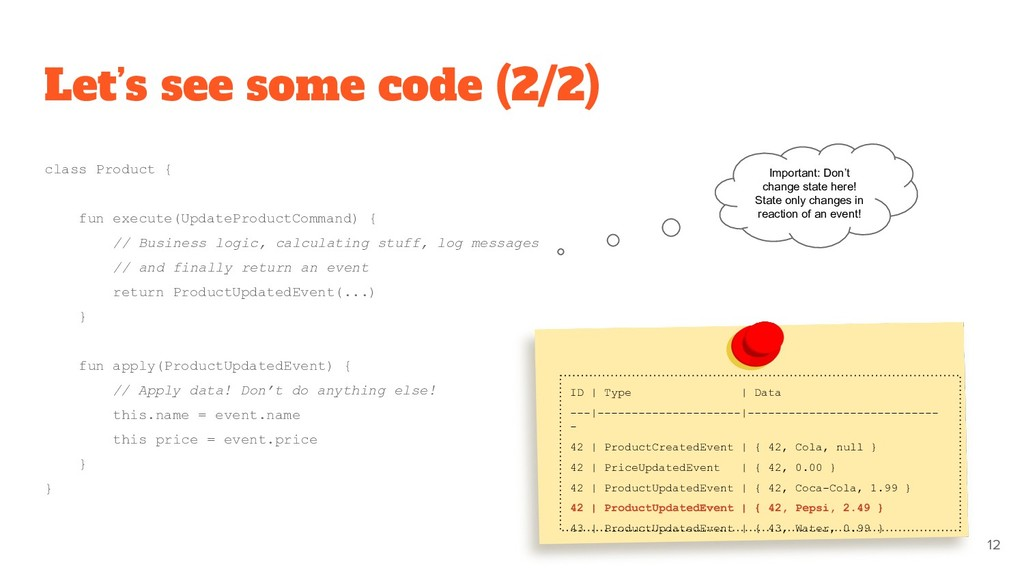 Let's see some code (2/2) class Product { fun e...